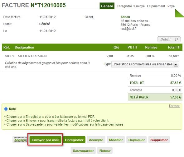 facture auto entrepreneur enregistrer envoyer facture auto entrepreneur. Black Bedroom Furniture Sets. Home Design Ideas