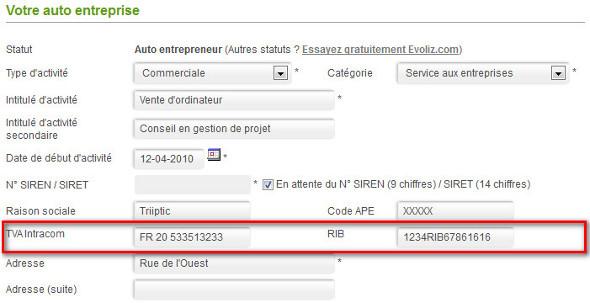 Rib Site Internet Tva Auto Entrepreneur Et Micro