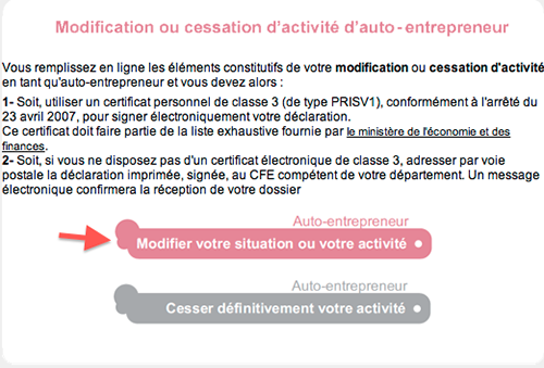 Modification ou cessation d'activit� auto entrepreneur